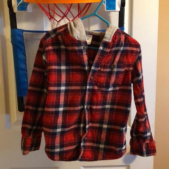 d18fb1949 Carter's Shirts & Tops | Plaid Hooded Boys Button Down Shirt | Poshmark
